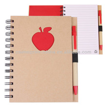 personalized spiral notebook printing, notebook with pen attached
