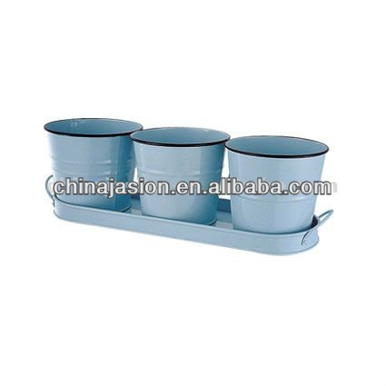 Metal planter set of 3 pcs with holding tray perfect for gardening cultivation & other horticultural activities Flower pot