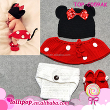 Charming soft red wholesale minnie mouse gift crochet baby hat