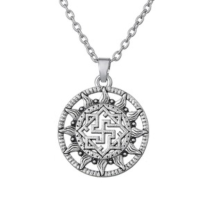Amulet Sun Necklace Svarozhich Pendant Link Chain Religious Supernature Necklace