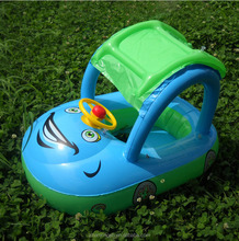 Hot Sale Eco-friendly PVC Inflatable Baby Seat Swim Float Boat With Sunshade