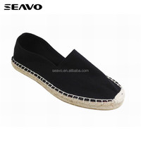 SEAVO SS17 fashion jute insole style classic black cheap TPR sole women espadrilles shoes