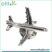 Wholesale 3D Aircraft Silver Tone Airplane Lapel Pin