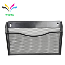 Office wire mesh metal wall mounted storage box paper file holder steel mesh desk organizer