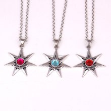 HL1001 Sexy Witch Crystal pointed star silver wiccan necklace by Peter Stone Witch Diva gift Link chain Pendant Necklace