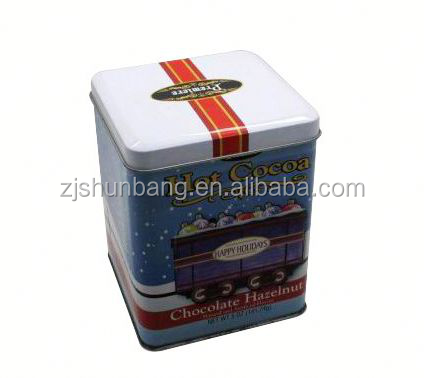 cheap metal box/ popcorn tin bucket/ coffee metal box with clear plastic lid