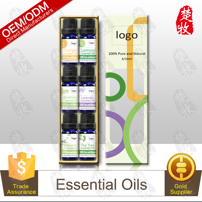 OEM Aromatherapy Top 6 Essential Oils 100% Pure Therapeutic Grade Tea Tree,Peppermint,Lavender,Rosemary,Lemon,Orange