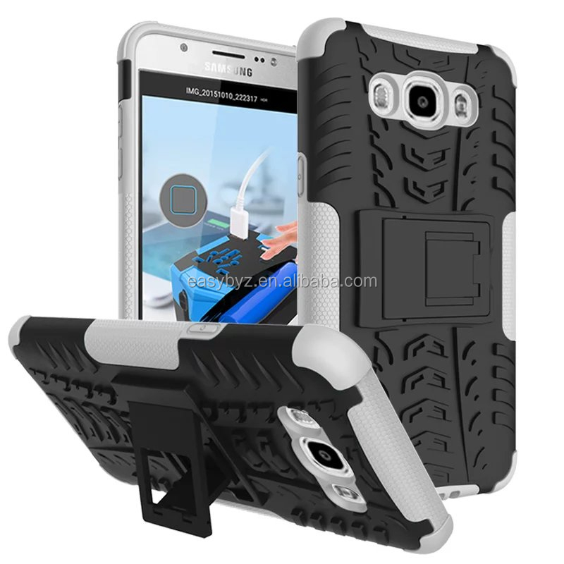 For Samsung galaxy J7 case tires grain robot style PC TPU hard case with stand, Phone case For Samsung J710