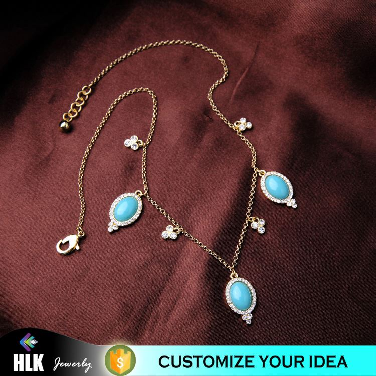 22 carat gold artificial jewellery wholesalers in indian Oval Turquoise Stone Plum Flower Crystal Necklace