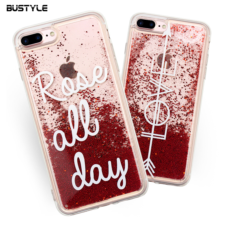 Phone Case Identify Girls Gift Liquid Glitter Case For iPhone 6 7 8 Plus, Quicksand Pearl For iPhone X Liquid Phone Case