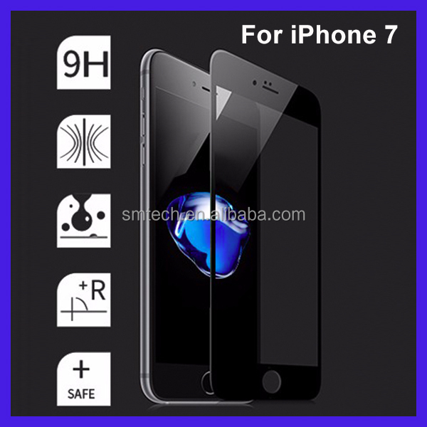 100% high quality 9H anti shock 3D curved full cover tempered glass screen protector for iphone 7 7plus