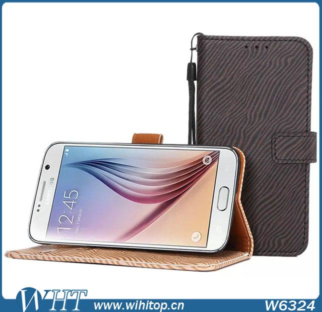 Zebra-Stripe Leather Case for Samsung Galaxy S6 with Wallet Card Holder, Wholesale Mobile Phone Accessory for Samsung Galaxy S6