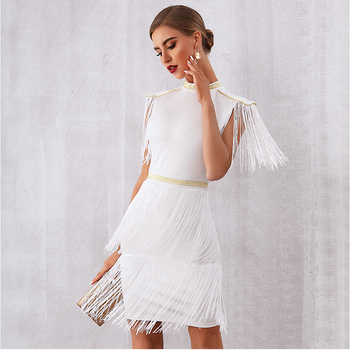 2019 New Summer Women Celebrity Evening Runway Party Dress Sexy Red White Fringe Tassels Short Sleeve Club Dress Vestidos