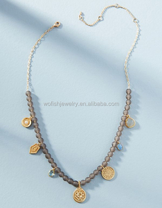 Matte gray crystal bead Medallions Statement Necklace
