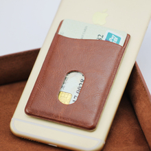 New design mobile phone sticky leather card holder/card pouch