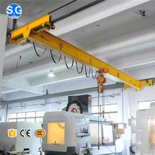Wide Span 1 Ton Single Girder Under Hung Suspension Bridge Crane with Motor Type Trolley