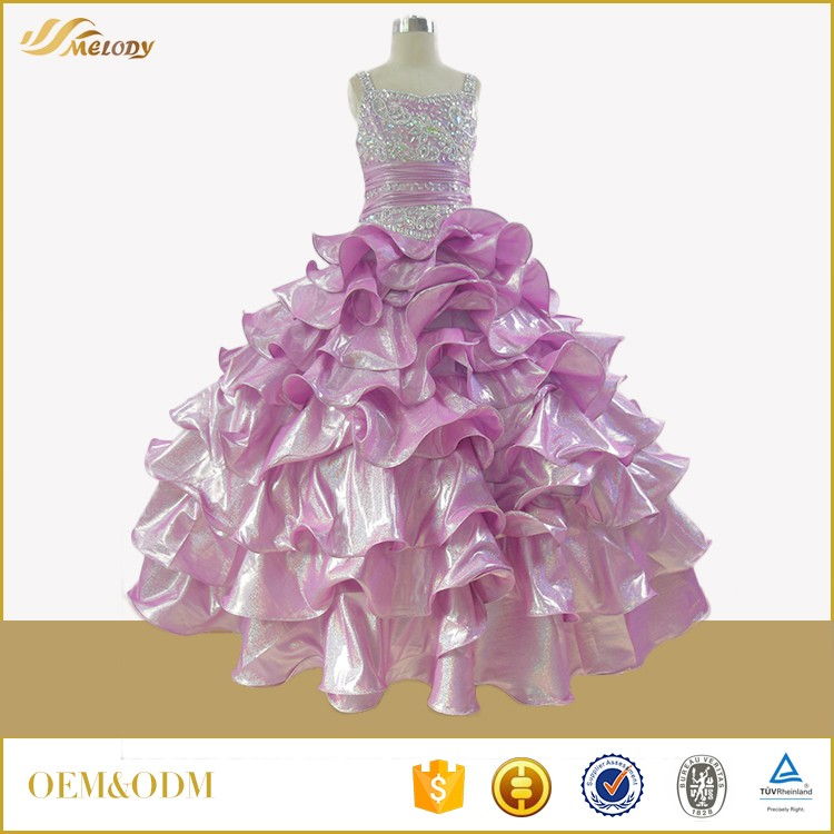 Metal cloth purple beaded sleeveless ball gown wedding dresses for girls