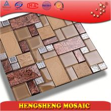 Foshan With Stainless Steel Frame Golden Foil Leaf Pattern Ceramic Glass Mosaic Tiles For Wall Decoration TC33