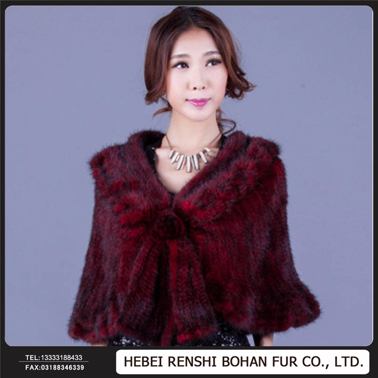 Good Quality/ Price !!! Knitted Shawl With Fur Trim