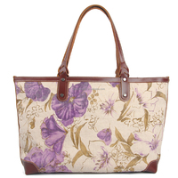 2015 fashion digital printing cavas tote bag with leather trim