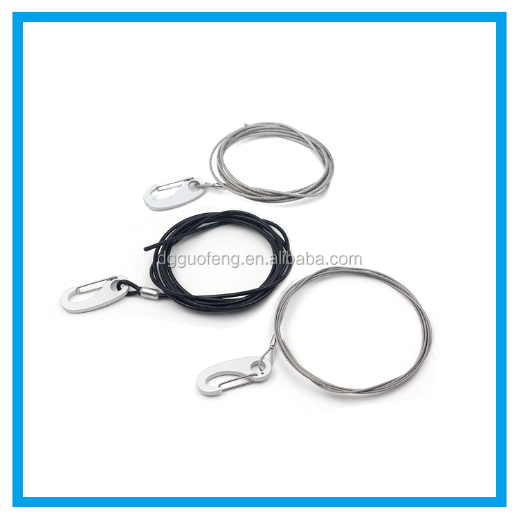 Customed Size hot sale steel cable wire with 5*50 carabiner and terminal