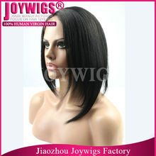 Unprocessed carnival wig, human hair short bob lace front wig