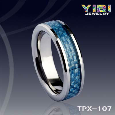 Dress Wholesale Tungsten Carbide Rings Blue Carbon Fiber FJ Jewelry
