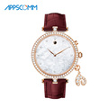 2017 APPSCOMM Smart Watch Ladie's Genuine Leather Smart Wrist Watch Waterproof UV Monitor with Charm Zircon