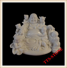 Marble stone carved buddha with children statue
