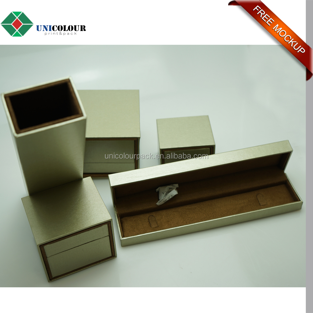 Custom cardboard texture paper made jewelry box/ring box/necklace box for sale