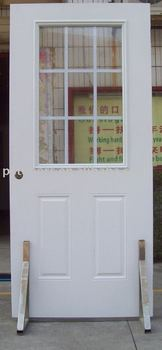 9 lite internal grilled metal entry door(glass door)