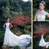 New Designs Appliques High Collar Cap Sleeve Floor -length Bridal Lace Mermaid Long Train Wedding dresses WD1812