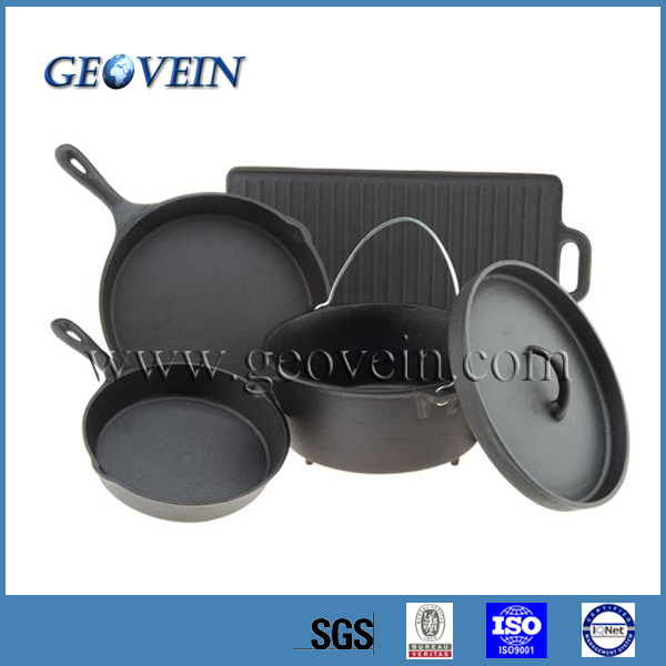 4 pcs camping Cast Iron Cookware Set with vegetable oil