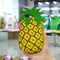 Shockproof Stylish Cell Phone Skin Shell 3D Cute Cartoon Pineapple Silicone Rubber Case Bumper Back Cover For Iphone 7 8 Plus