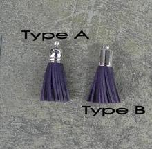 Two type with different cap small leather tassel with silver cap for keychain