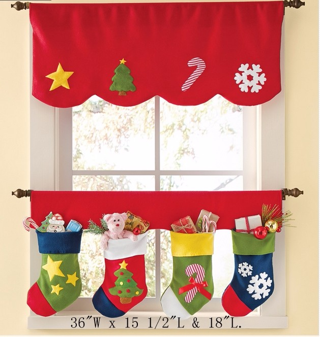 LX2666 FREE SHIPPING Red christmas socks curtain design new model with snow printing in usa market 2015