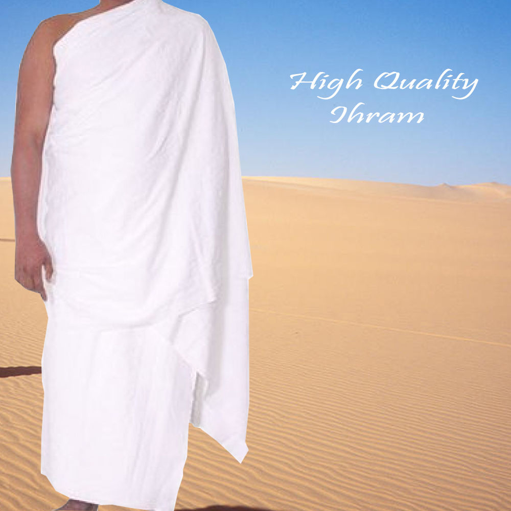 High quality white Polyster ihram hajj towel for Men Hajj & Umrah
