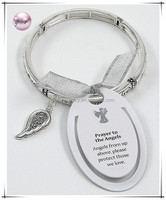 "Antique Silver Tone / Lead Compliant / Includes Bookmark / Religious Message Charm Stretch Bracelet / "" Angels From Up AbovePlea"
