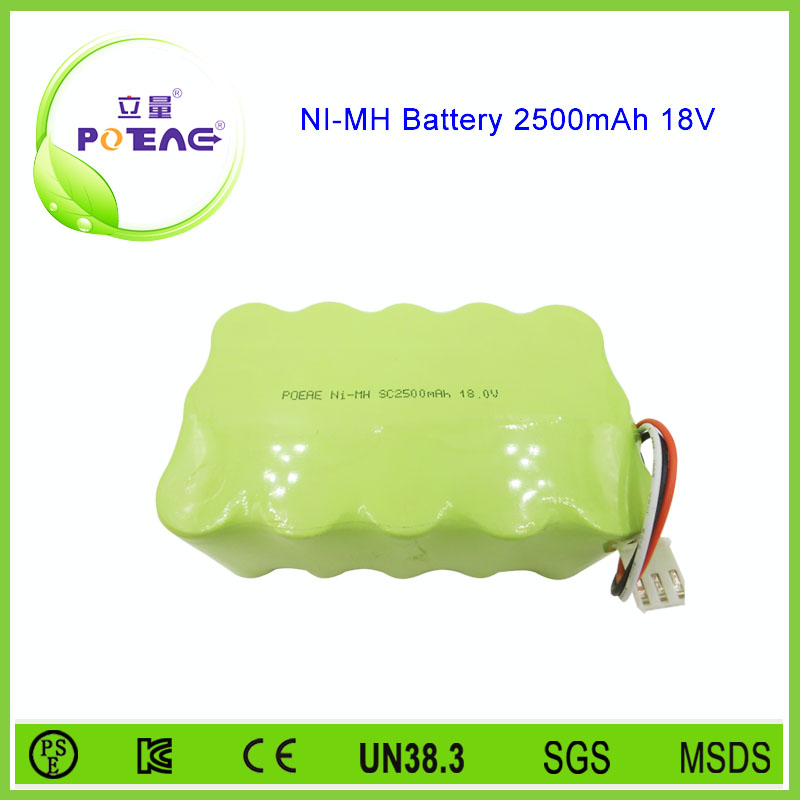 customized design SC 18v 2500mah nimh rechargeable battery