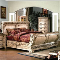 Yuan Tai Cannes Gondola King Size Bed in Whitewash Finish