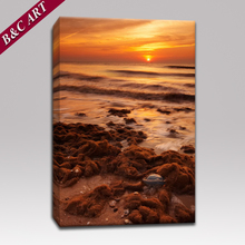 3D Scenery Photo Modern Seascape Canvas Printed Sunset Painting With Stretcher Bars