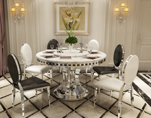 Wholesale modern marble top dining laminated table prices with lazy susan