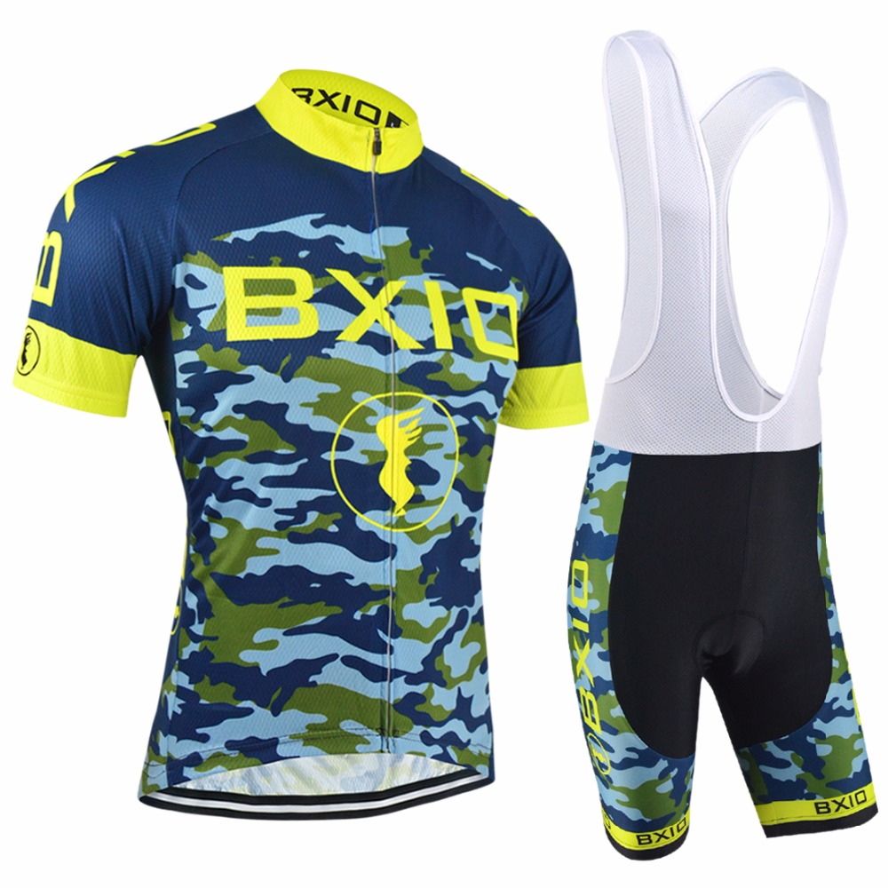 BXIO Blue Camouflage <strong>Cycling</strong> Sets Maillot Pro <strong>Cycling</strong> Cloth Popular Bicycle Wear MTB Bike uniform Roupa De Ciclismo BX-0209MC052