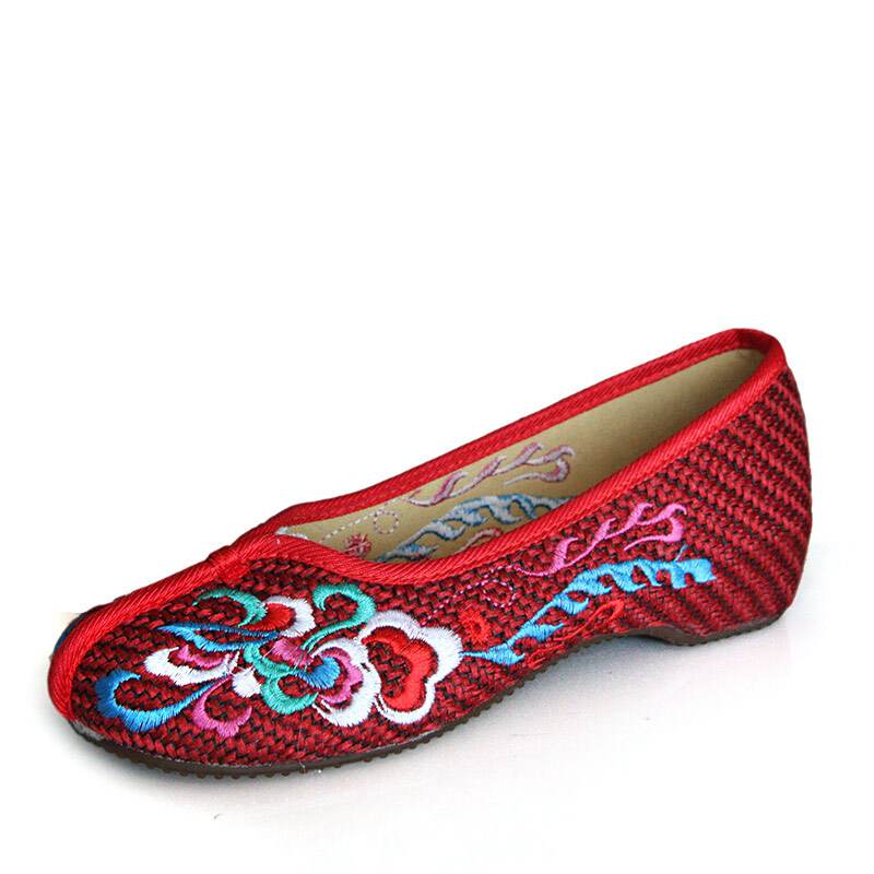 Embroidered Chinese Style Flats Ballet Embroidery Crafts Women's Shoes Grey Beige Red