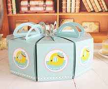 Lovely blue elephant Triangles Cake Candy Boxes with Handle Decoration Wedding Favor Gift Paper Box
