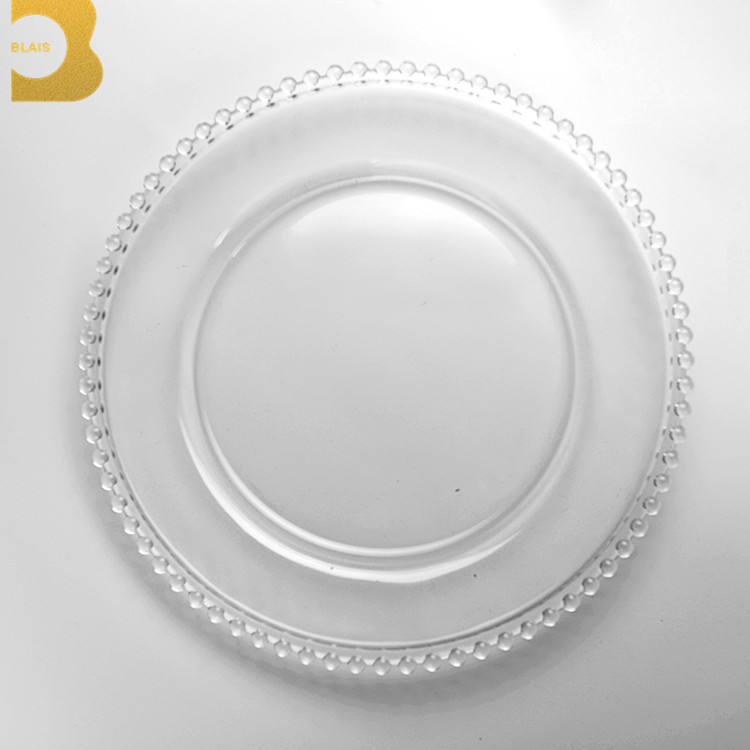 party decoration decorations wedding glass wholesale clear beaded charger <strong>plates</strong>