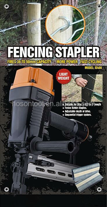 Air fencing staple gun for fencing