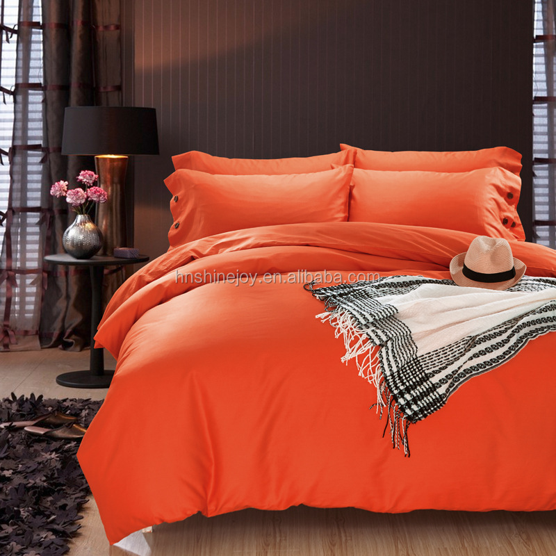 Close skin series king size warm cotton orange bedding set solid color bed cover