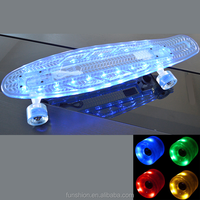 22'' and 27'' inch LED light plastic nickel mini cruiser flashing LED skateboard