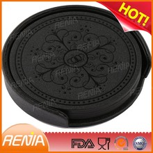 RENJIA New design round shaped cup mats beer coaster black silicone drink coaster set